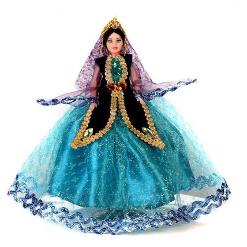 عروسک زن محلی فیروزه ای