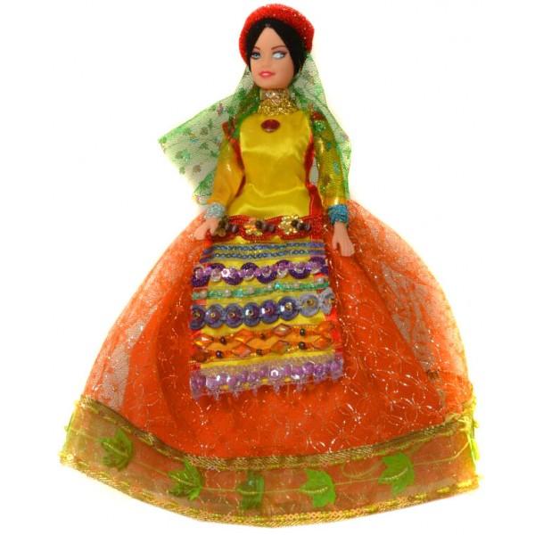 عروسک سفره هفت سین زن قشقایی نارنجی