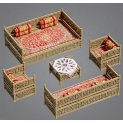 مدل 3 بعدی تخت سنتی گره چینی