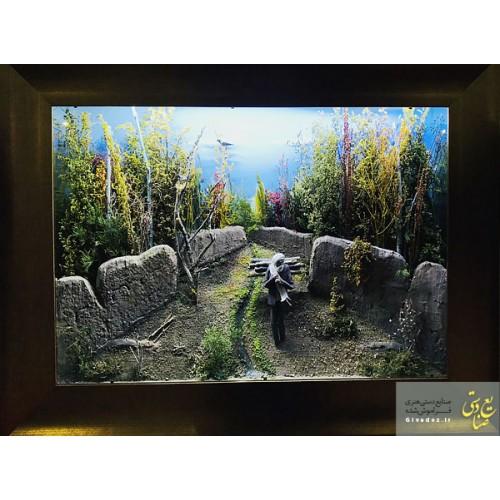 تابلو برجسته سنتی مرد هیزوم به دوش