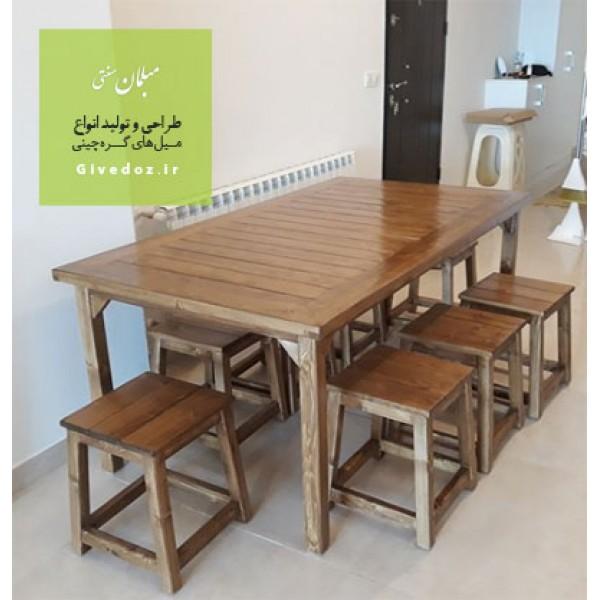 میز و نیمکت چوبی سنتی 8 نفره