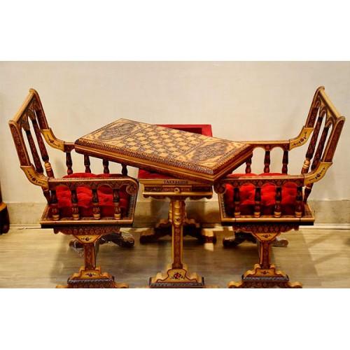 میز و صندلی تخته نرد چوبی