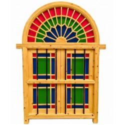 پنجره هلال شیشه رنگی