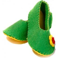کفش روفرشی زنانه نمدی سبز 5505
